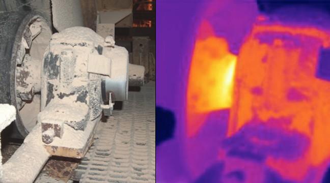 Défaut sur palier de transporteur : les échauffements en bout d'arbre traduisent une usure de la cage intérieure du roulement