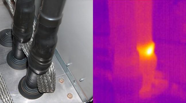 Exemple de défaut détecté en HAUTE TENSION : Échauffement sur tresse de terre du câblage d'une cellule HTA