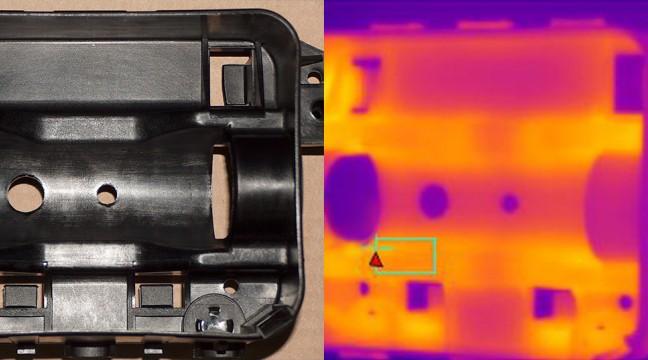 La visualisation de la répartition des températures sur une pièce plastique moulée facilite la résolution de problèmes de fabrication